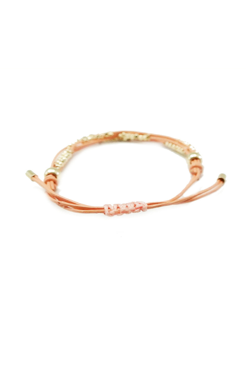 Dakota Leather Beaded Bracelet - Peach