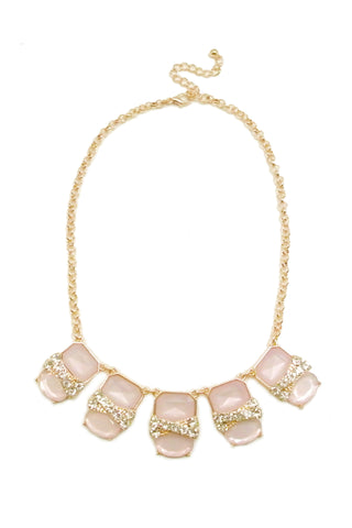 Pastel Bauble Crystal Necklace - Pink
