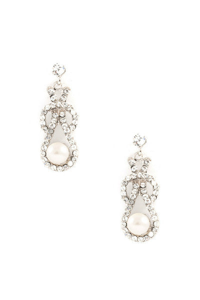 Knotted Pearl Drop Evening Earrings