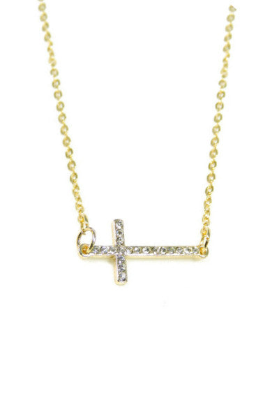 Studded Sideways Cross Necklace