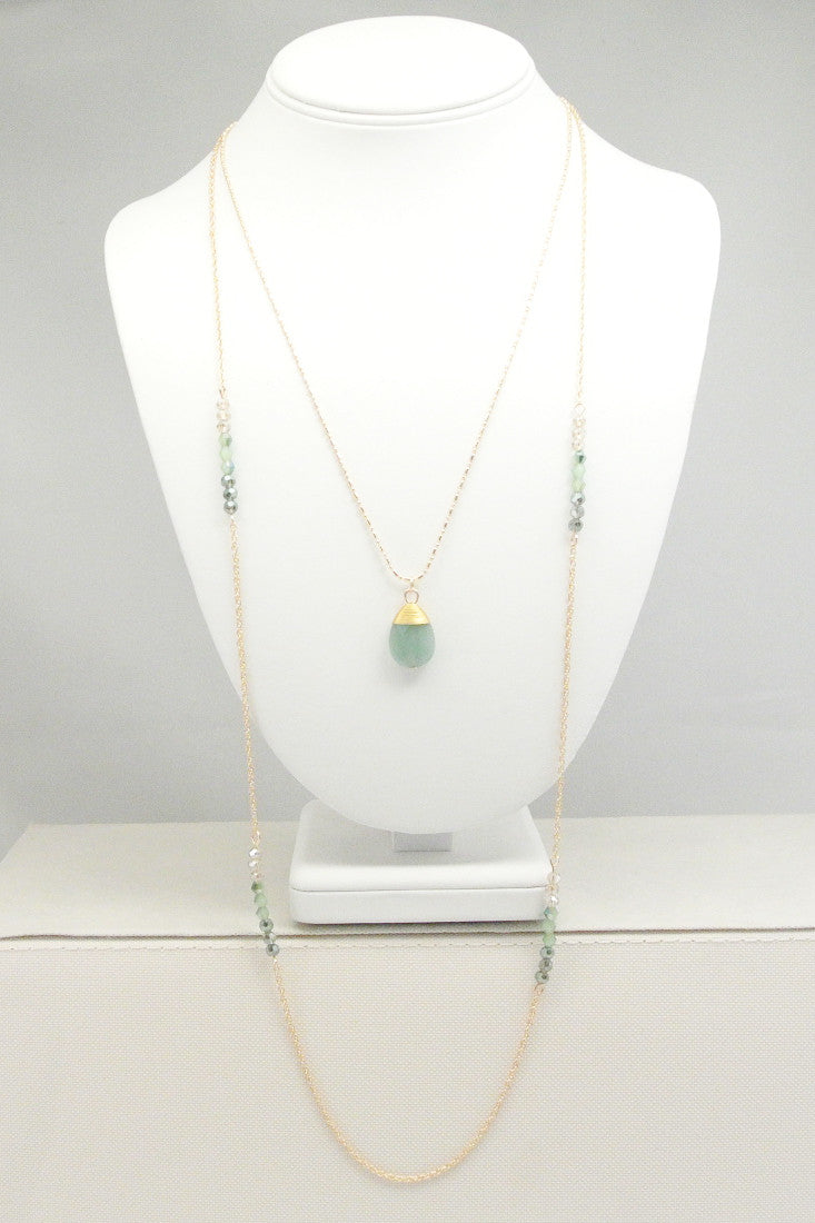 Rome Double Strand Long Necklace - Jade