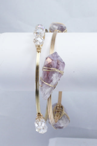 Crystal Amethyst Bangle Set