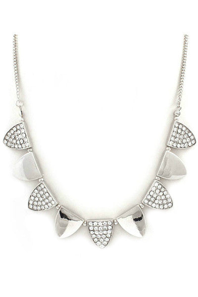 Triangle Craze Crystal Necklace - Silver