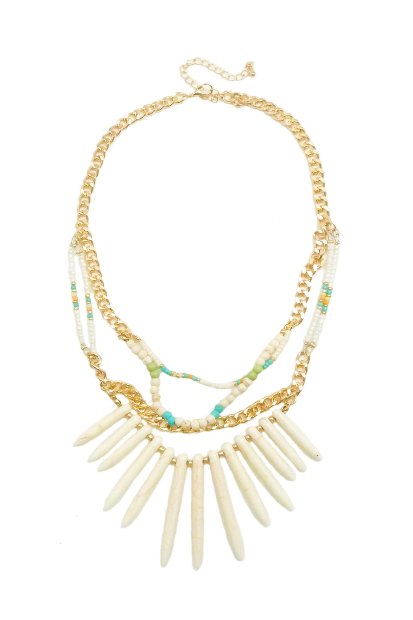 Tribal Spears Necklace - White