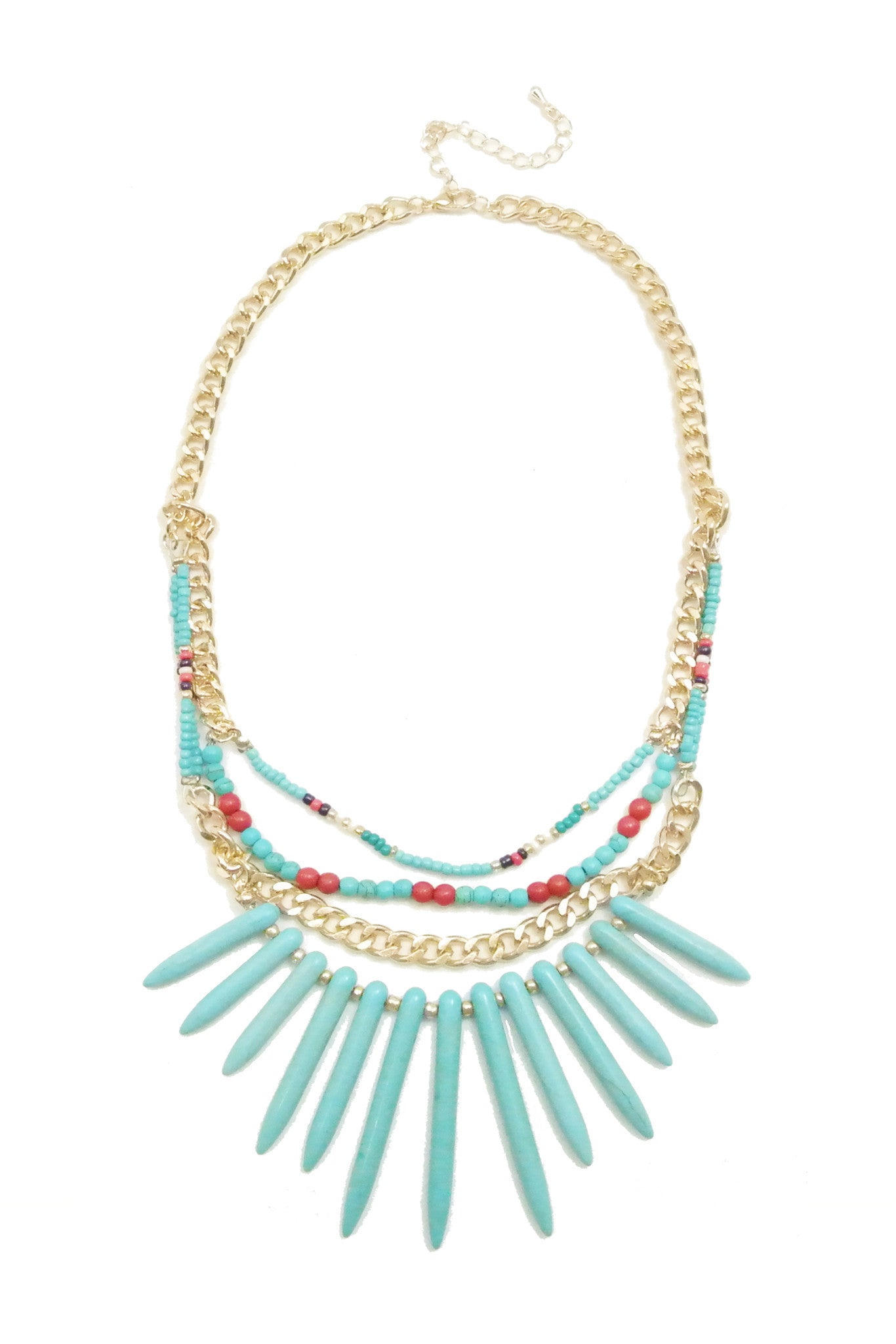 Tribal Spears Necklace - Turquoise