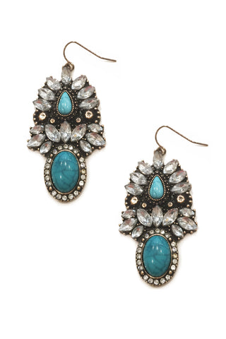 Turquoise Stone Vintage Drops