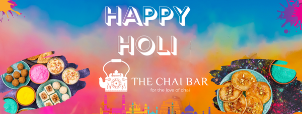 Colorful sky, Happy holi text, TCB logo, festival of colors Indian