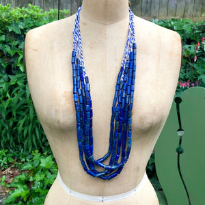 Lapis Bead Necklace, cylinders