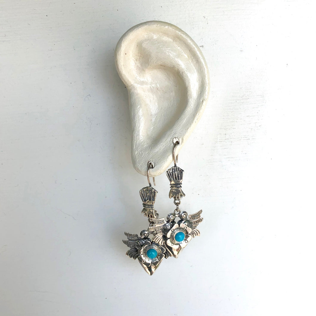Heart and Bird in Hand Earrings