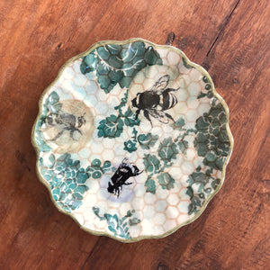 Set of Four Small Bee Plates