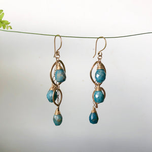 Teal Blue Apatite Earring Collection