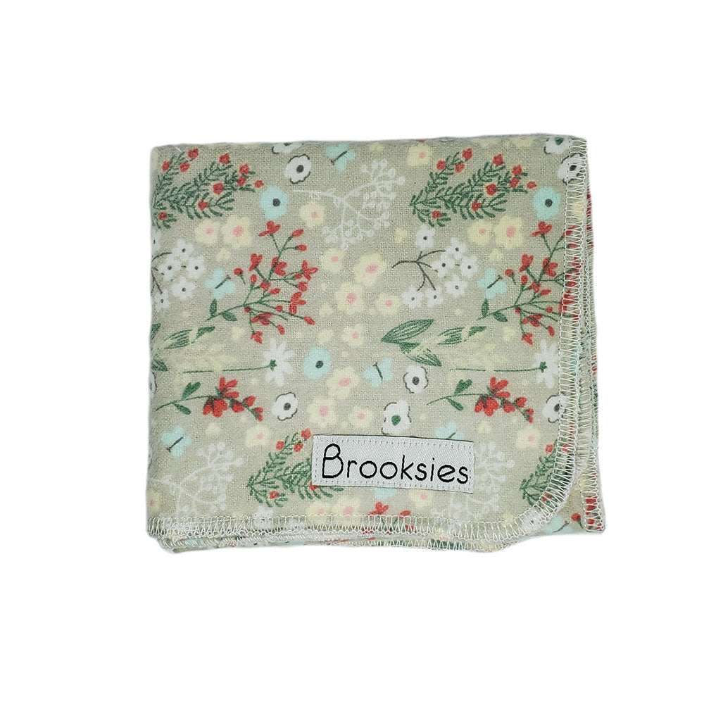 Brooksies Burp Cloth Taupe Floral
