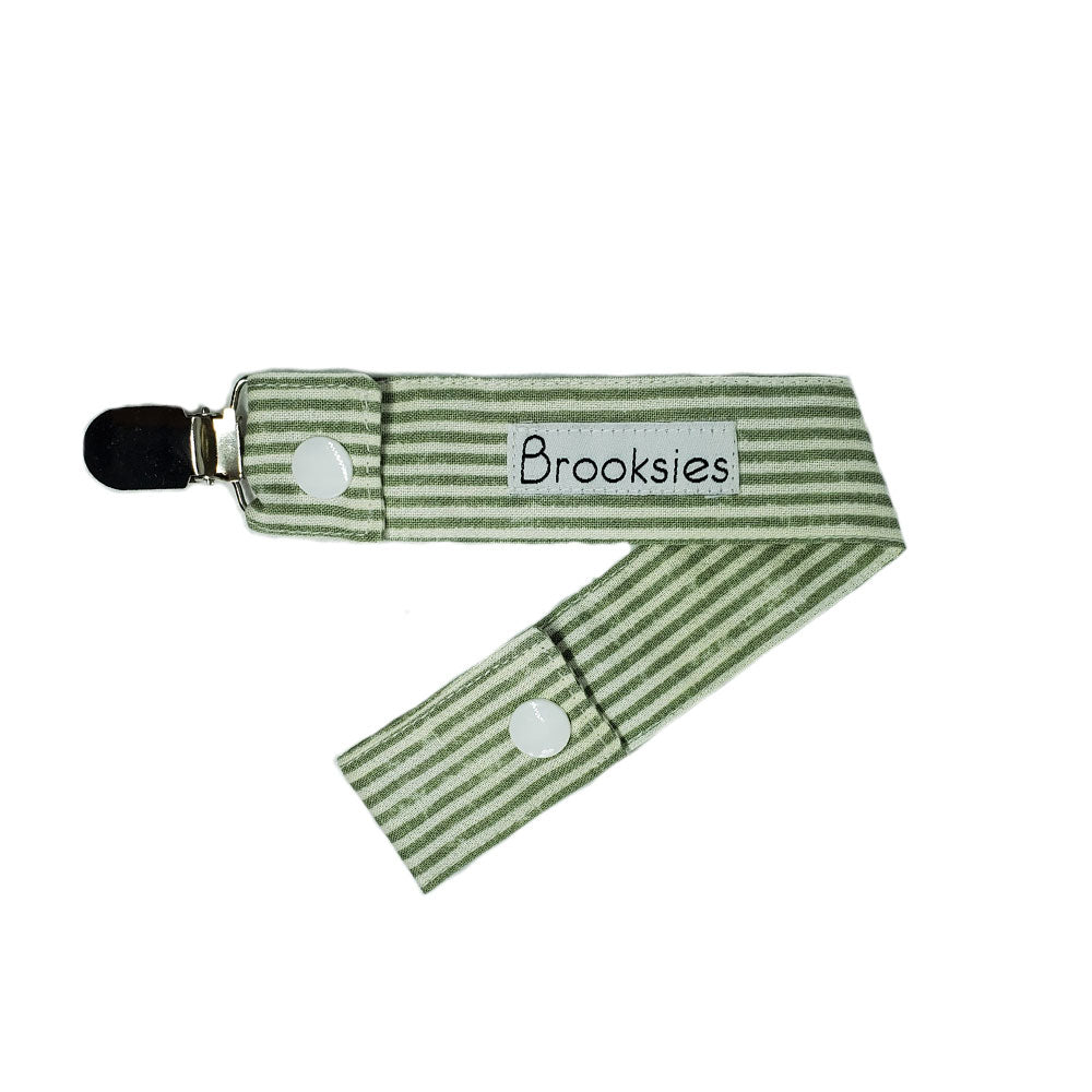 Brooksies Dummy Clip Olive Stripe