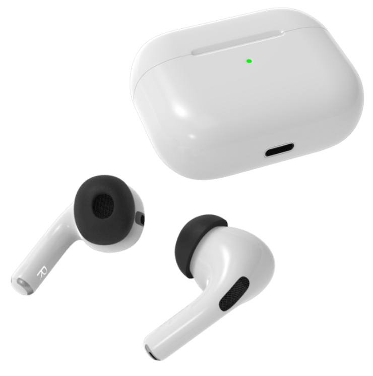 Foam attachment replacement for Apple AirPods Pro ear buds. Charging case and AirTips Pro memory foam fits AirPods Pro.