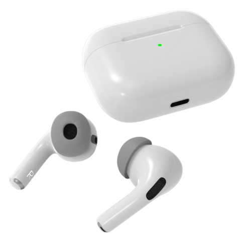 Right and left AirPods Pro with charging case and memory foam tips light grey. Pod Accessories product image small medium large ear tips.