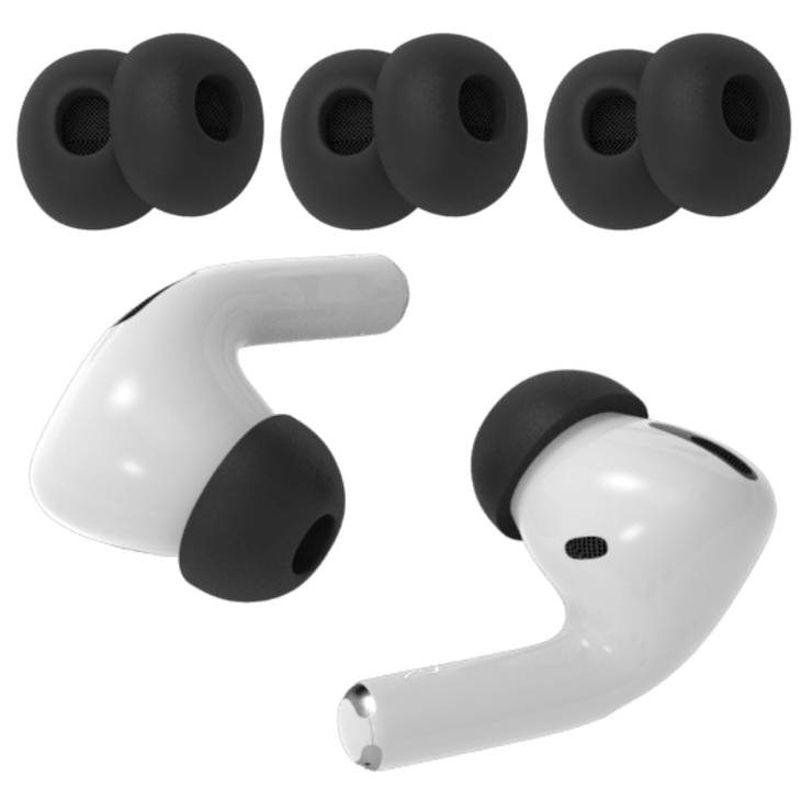 Image showing Apple AirPods Pro with black memory foam tips small medium and large with metal mesh.