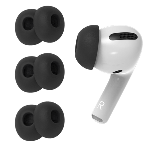 One Apple AirPod Pro with replacement silicone tips designed by Pod Accessories Showing three pairs of the black tips.