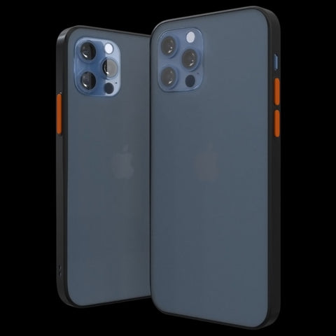 Transparent Frosted Ultra Slim iPhone 12 case. Blue Apple Pro Max Mini phone by Pod Accessories. Image shows frosted case with colored buttons.
