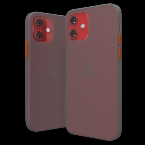 Product RED iPhone 12 mini frosted slim strong clear case. Perfect branding free no logos Apple case by Pod Accessories.