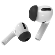 Pod Accessories new memory foam tips for AirPods Pro featuring mesh screen protection, expanding foam, and OEM Apple silicone tip connectors. #color_black
