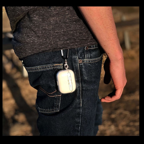 Cleary™ Transparent AirPods Pro Case attaches to jeans, shorts, pants, key rings.