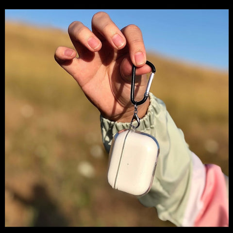 Clear case for AirPods help by fingertips with the convenient and functional carabiner by Pod Accessories.