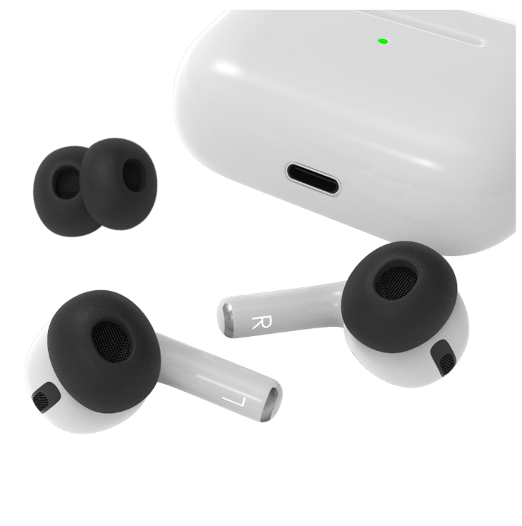 New design for memory foam replacement silicone Apple AirPods Pro tips. AirTips Pro By Pod Accessories
