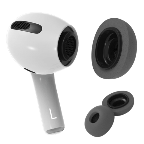 Foam tip replacement for Apple AirPods Pro. Featuring new design in charcoal grey. By Pod Accessories.