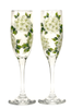 White Hydrangeas Champagne Flutes - Wineflowers  - 1