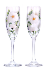 White Beach Roses Champagne Flutes (Set of 2)
