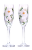 White Beach Roses Champagne Flutes (Set of 2) - Wineflowers