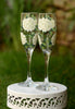 White Hydrangeas Champagne Flutes - Wineflowers  - 2