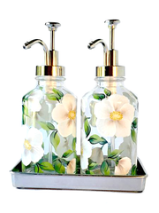 White Beach Roses Soap/Lotion Dispensers (Special Value Set of 2 with Tray)