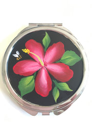 Red Hibiscus Mirror Compact