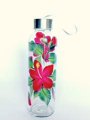 Red Hibiscus Water Bottle