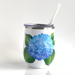 Blue Hydrangeas Steel Wine Tumbler
