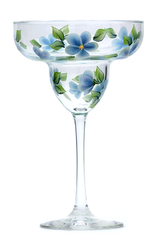 Blue Forget-Me-Nots Margarita Glass