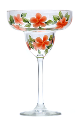 Coral Forget-Me-Nots Margarita Glass