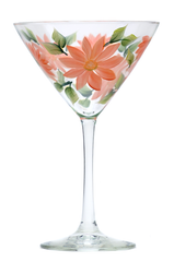 Coral Daisies Martini Glass