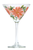 Coral Daisies Martini Glass - Wineflowers