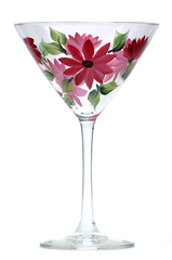 Deep Pink Daisies Martini Glass