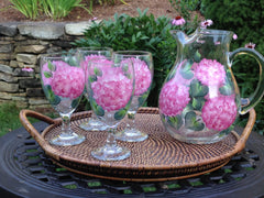 Pink Hydrangea 5-Piece Entertaining Set