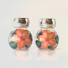 Coral Hibiscus Salt & Pepper Set