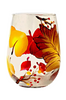 Autumn Leaves Stemless Wine Glass