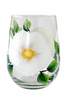White Beach Roses Stemless Wine Glass - Wineflowers