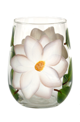 White Magnolias Stemless Wine Glass