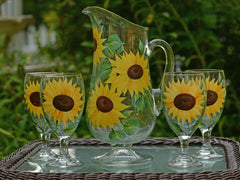 Sunflowers 5-Piece Hostess Set with Footed Pitcher