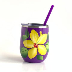 Yellow Hibiscus Steel Wine Tumbler