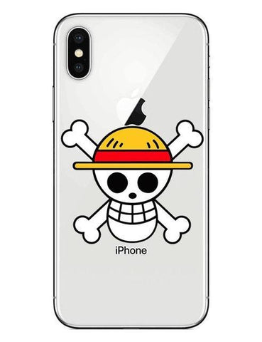 Coque One Piece iPhone Jolly Roger Chapeau de Paille (Verre Trempé)