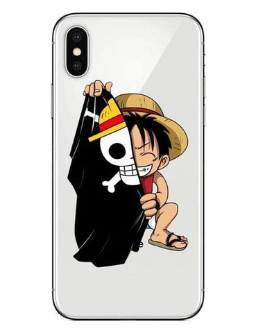 Coque One Piece iPhone Luffy Jolly Roger (Verre Trempé)